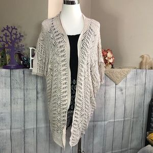 Maurices XS Cream Long Lace Crochet Cardigan *21S*
